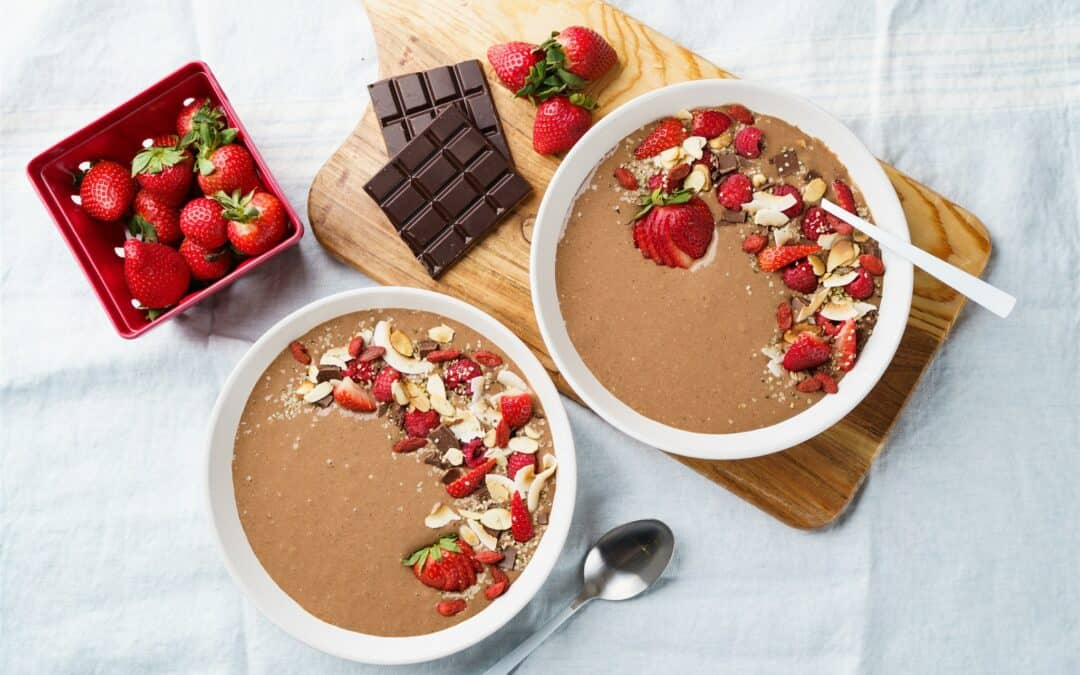 Dark Chocolate Protein Smoothie Bowl with Ruby Red Berries